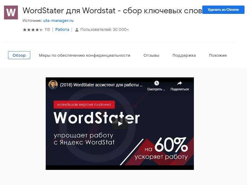 Установка плагина Wordstater в браузер из магазина приложений