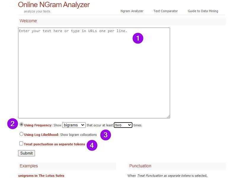 Онлайн анализатор n-грамм