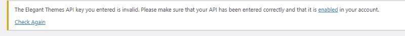 Сообщение о невалидном ключе API